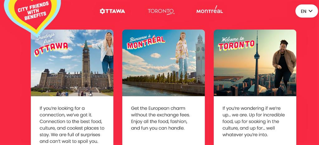 Montreal, Ottawa and Toronto common tourism campaign